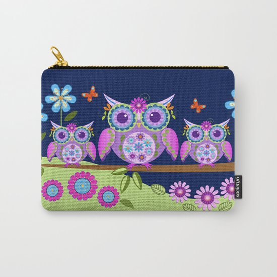 Flower power owls in a summer environment Carry-All Pouch