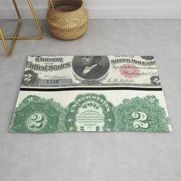 1891 U.S. Federal Reserve Two Dollar William Windom Bank Note Rug