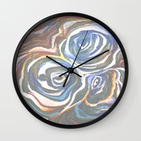 maps Wall Clocks featuring Maps  by Anne Powers