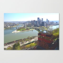 Downtown Pittsburgh point and incline 32 Canvas Print