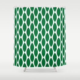 Green Ikat Petals Shower Curtain