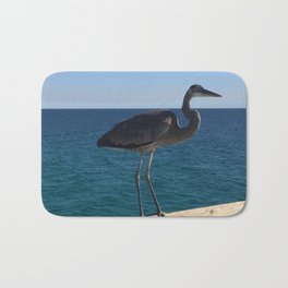 Blue Heron on the pier Bath Mat