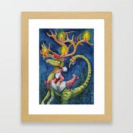 Christmas Compsognathus Framed Art Print