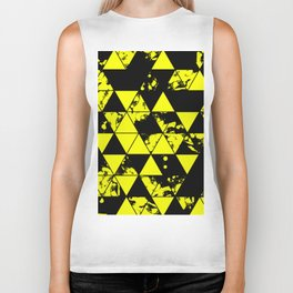 Splatter Triangles In Black And Yellow Biker Tank