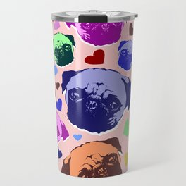 Pug Puppy Dog Love Hearts Pattern Travel Mug