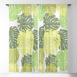 monstera green and yallow Sheer Curtain