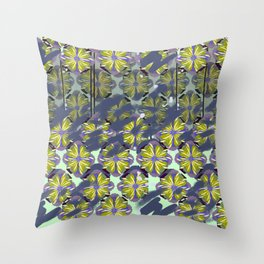 Surf Bali Flower Roshambo Blue Working Pattern Series Throw Pillow