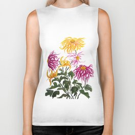 yellow and purple chrysanthemum watercolor Biker Tank