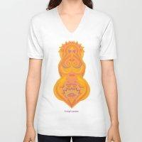 chakra V-neck T-shirts featuring Swadhisthana Chakra by anabra