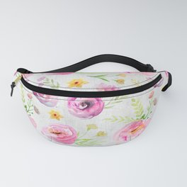 Delicate Poppy Pattern On White Background Fanny Pack