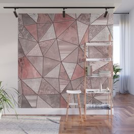 Soft Pink Coral Glamour Gemstone Triangles Wall Mural