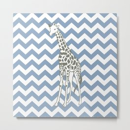 Rock Blue Safari Chevron with Pop Art Giraffe Metal Print