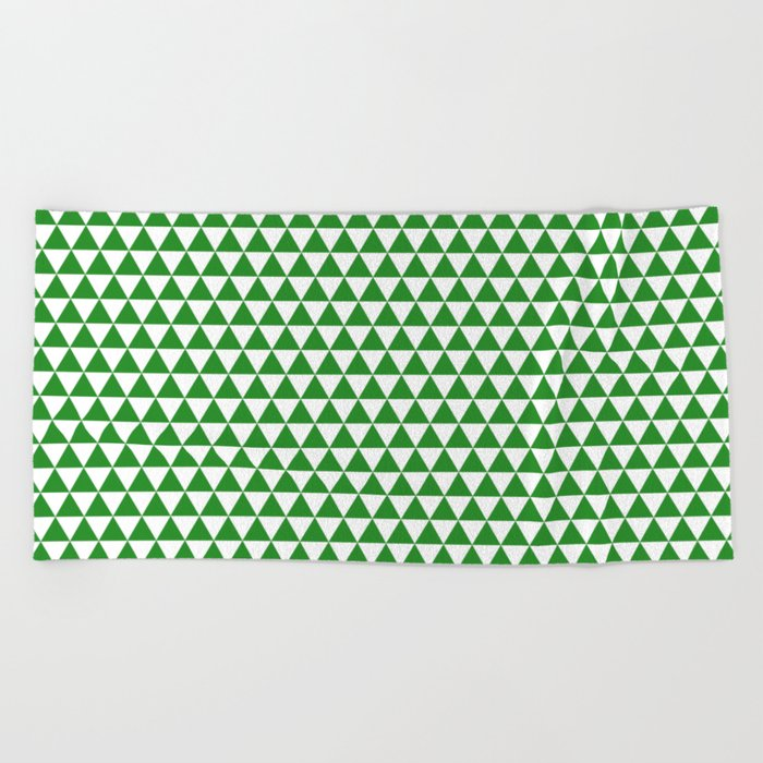 Triangles (Forest Green/White) Beach Towel