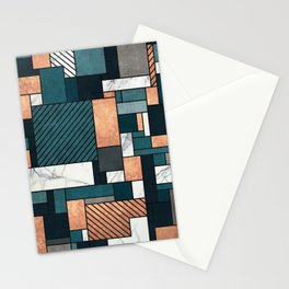 Random Pattern - Copper, Marble, and Blue Concrete Stationery Cards