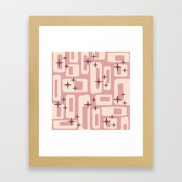 Retro Mid Century Modern Abstract Pattern 576 Dusty Rose Framed Art Print