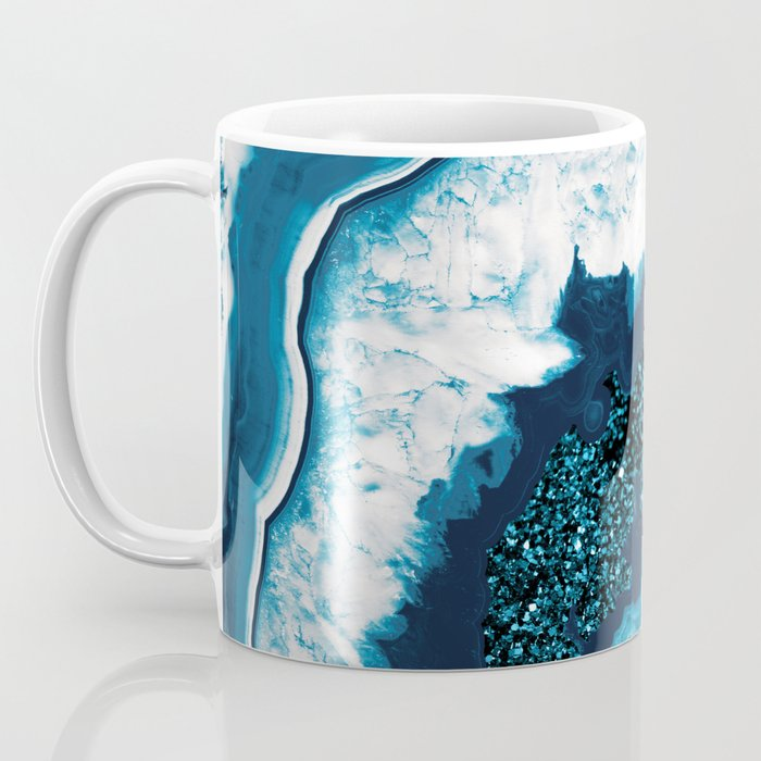 Blue White Agate with Blue Glitter #1 #gem #decor #art #society6 Coffee Mug