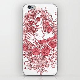 Sexy Woman zombie WITH Flower - Light Coral iPhone Skin