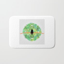 Dancing with nature- Conceptual graphic of a girl dancing with dress made from leaves Bath Mat