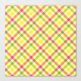Yellow, Green and Pink Diagonal Plaid Pattern Canvas Print