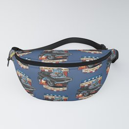 American Muscle Patriotic Classic Muscle Car Cartoon Illustration Fanny Pack