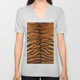 Faux Siberian Tiger Skin Design Unisex V-Neck