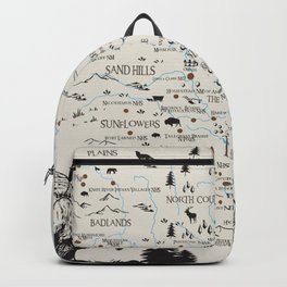 Whimsical map of the national park sites in the Midwest Backpack