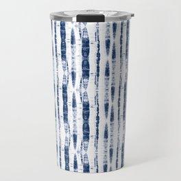 Shibori Stripes 2 Indigo Blue Travel Mug