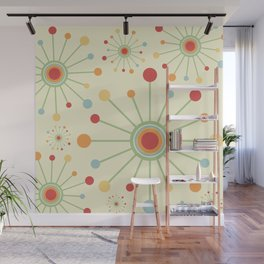 Mid Century Modern Retro 1970s Inspired SunBurst in Muted Colors Wall Mural