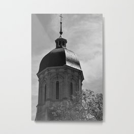 Black and white photograph of the Abbey Mondaye in Normandy, France Metal Print