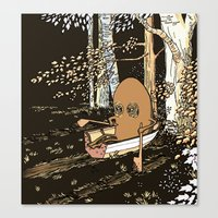 rowing Canvas Prints featuring Forest Rowing by Emily Joan Campbell