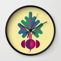 vegetable Wall Clocks featuring Vegetable: Beetroot by Christopher Dina