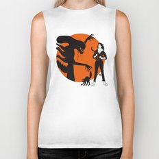 Alien Cartoon Style - Orange Biker Tank