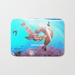 Inspirational Love Quote With Sea Lions Painting Bath Mat