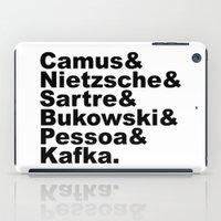 kafka iPad Cases featuring Camus& Nietzsche& Sartre& Bukowski& Pessoa& Kafka. by Andrew Gony