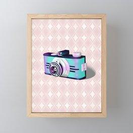Blue Vintage Camera Framed Mini Art Print