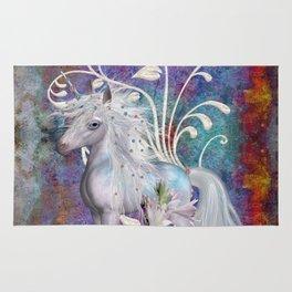 Fantasy Unicorn Floral Art Rug