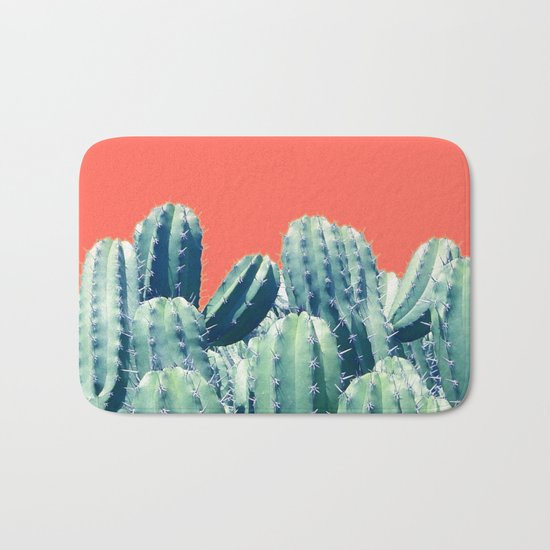 Cactus on Coral #society6 #decor #buyart Bath Mat