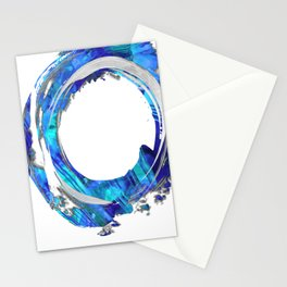 Blue And White Abstract Art - Swirling 1 - Sharon Cummings Stationery Cards