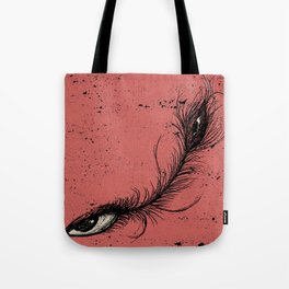 pink eye feather. Tote Bag
