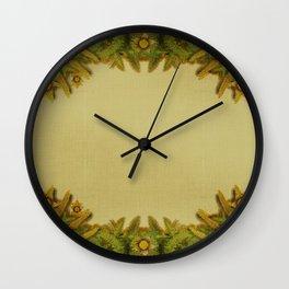"""""""Floral farm (burlap texture)"""" Wall Clock"""