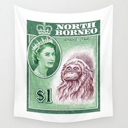 1961 North Borneo Queen And Orangutan Postage Stamp Wall Tapestry