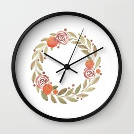 Orange Rose Botanical Wreath Wall Clock