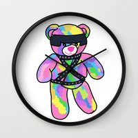 bondage Wall Clocks featuring Rainbow Bondage Bear by clevernessofyou