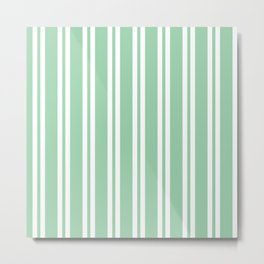 Mint Green Wide Small Wide Stripes Metal Print