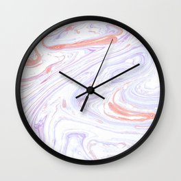 Purple and Pink Marble Texture White Marble Wall Clock