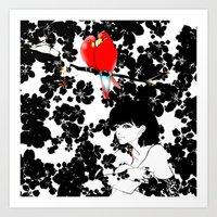 valentine Art Prints featuring Valentine by Priscilla Moore