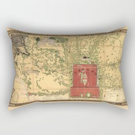 Topographic map of the city of Beijing, China (1848) Rectangular Pillow