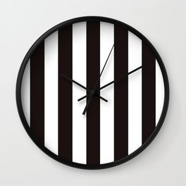 Licorice black - solid color - white vertical lines pattern Wall Clock