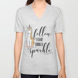Unicorn Follow Your Inner Sparkle Unisex V-Neck