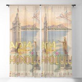 Retro Aloha Tower and  Diamond Head Sheer Curtain